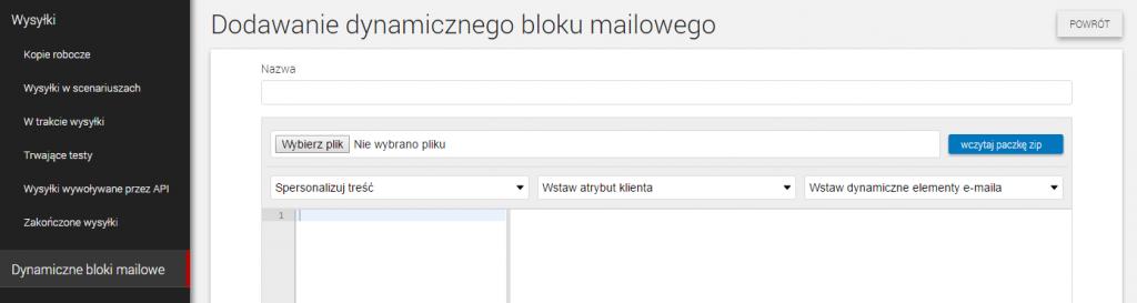 dynamiczny blok mailowy